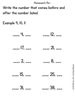 Homework Pack 1st Grade No Prep