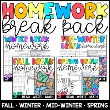 Homework BUNDLE: Winter, Mid-Winter, & Spring Breaks Grades 3 & 4