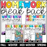 Homework BUNDLE: Winter, Mid-Winter, & Spring Breaks Grades 3 & 4