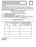 Homework Packet Checklist Cover Page and Reading Log