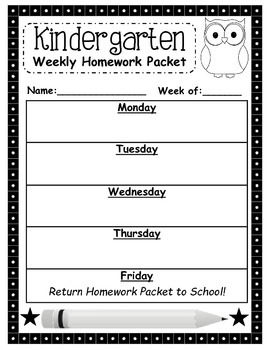 Homework Packet Cover Page