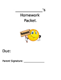 Homework Packet Cover Page Editable