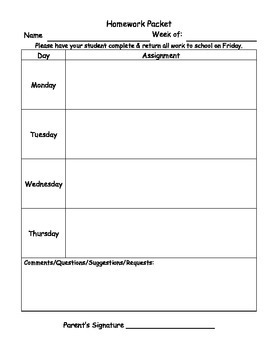 Homework Packet Cover Sheet