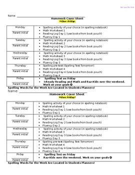 Homework Packet Cover Sheet
