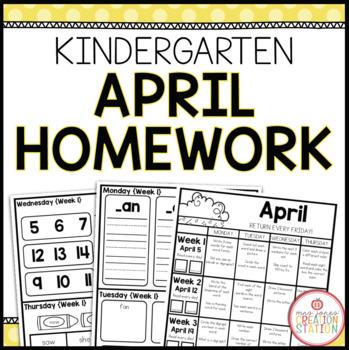 KINDERGARTEN HOMEWORK | APRIL