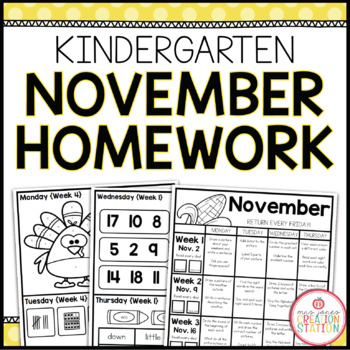 Homework Packet: Kindergarten | November