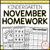 KINDERGARTEN HOMEWORK | NOVEMBER