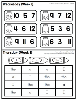KINDERGARTEN HOMEWORK | OCTOBER