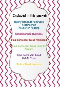 Homework Packet Recipe for Reading Book 20 Final Consonant Blends