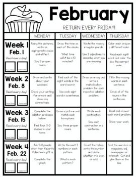 SECOND GRADE HOMEWORK | FEBRUARY