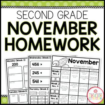 Homework Packet: Second Grade   November