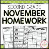 SECOND GRADE HOMEWORK | NOVEMBER