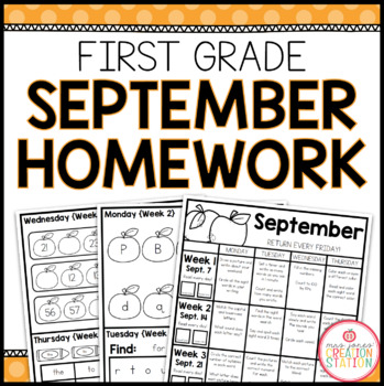 Homework Packet: First Grade | September
