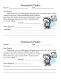 Homework Packet Slip