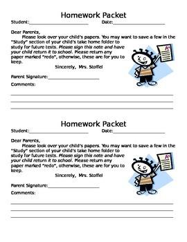 Homework Packet Slip