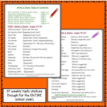 Homework Packet for an ENTIRE Year of Kindergarten: Write & Share