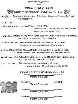 Homework Packet for Wonders, Lesson 1-1
