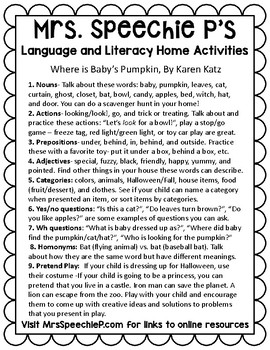 Speech Therapy Homework Page for Where is Baby's Pumpkin