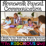 Homework Parent Communication EDITABLE TOOLKIT