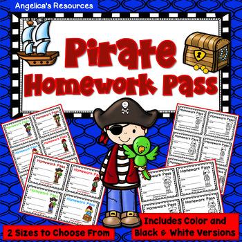 Pirate Homework Pass - Incentive Reward Coupon