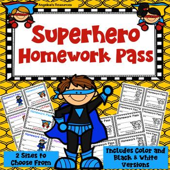 Superhero Homework Pass - Incentive Reward Coupon