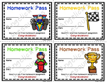 Race Car Homework Pass - Incentive Reward Coupon