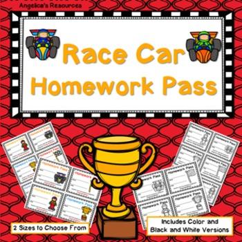 Race Car Homework Pass - Incentive Reward Coupon