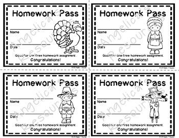 Thanksgiving Homework Pass - Incentive Reward Coupon