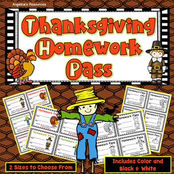 Thanksgiving Homework Pass - Incentive Reward Coupon