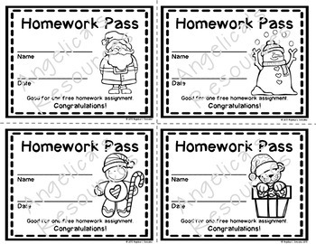 Christmas Homework Pass - Incentive Reward Coupon
