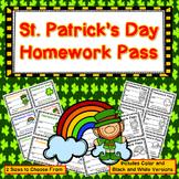 St. Patrick's Day Homework Pass - Incentive Reward Coupon