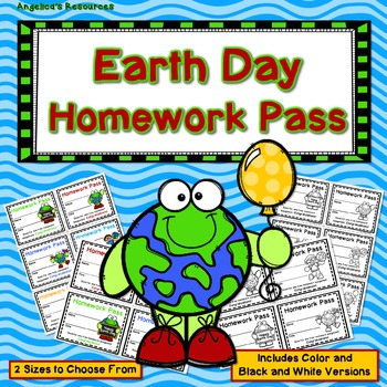 Earth Day Homework Pass - Incentive Reward Coupon