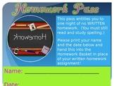 Homework Pass Award Template