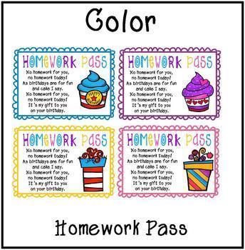 Homework Pass Birthday Gift
