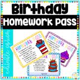 Homework Pass Editable Birthday Gift