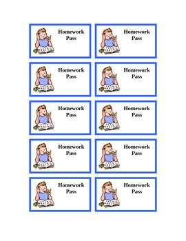 Homework Pass Blank Template