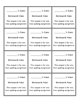 Homework Pass Coupons