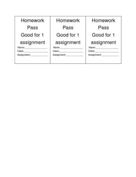 Homework Pass--Cutouts