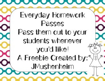 Homework Pass Freebie!
