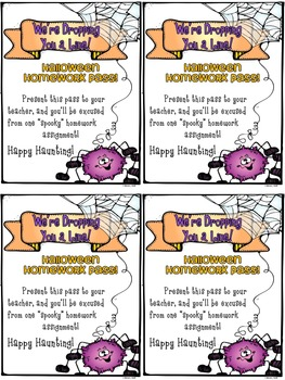 Homework Pass: Halloween (freebie)