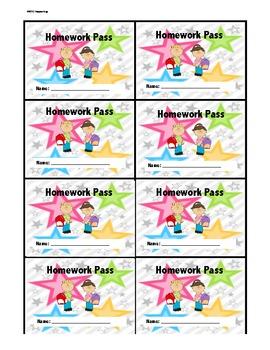 Homework Pass Handouts