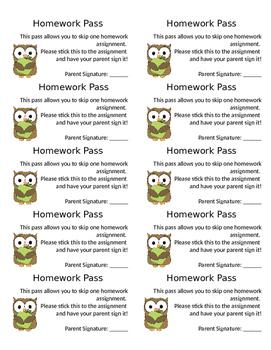 Homework Pass Label