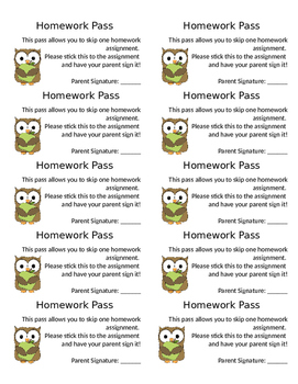 Homework Pass Label