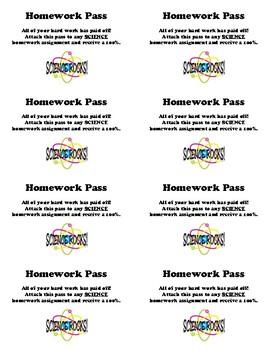 Homework Pass - Math, Language Arts, Science, or Social Studies