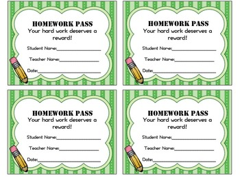 Homework Pass - Multiple Colors & Reasons Version