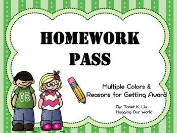 Homework Pass - Multiple Colors & Reasons Version
