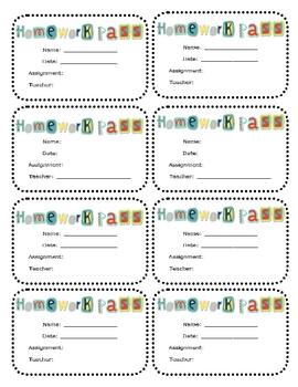 Homework Pass Printable (Any Subject or Grade) by Kasey Nichols | TpT