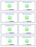 Homework Pass Reward Cards