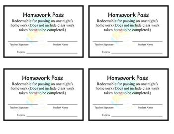 Homework Pass Reward (Updated)