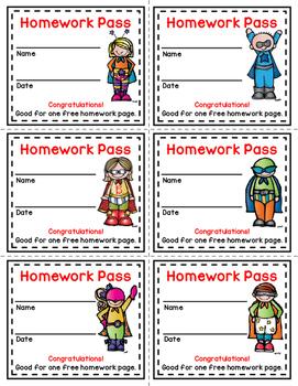Homework Pass *Superhero* Theme